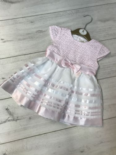 Pink Lace Top Dress with Stripe Skirt